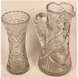 Cut Glass Vase & Leaded Crystal Pitcher  (120914)
