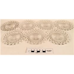 Fostoria American clear Crystal Cube Design Dinner Plates  (121561)