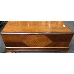 Vintage Cedar Trunk with Inlaid Wood Patterns  (110741)