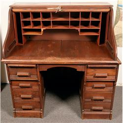 Vintage Oak Roll Top Desk  (119975)