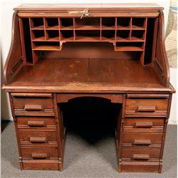 Vintage Oak Roll Top Desk  (119975)