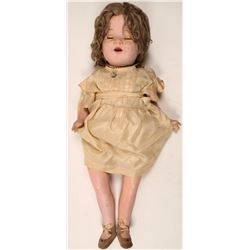 Painted Porcelain Antique Doll, Unmarked  (110495)