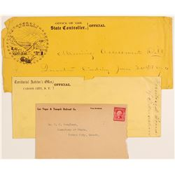 Nevada Postal History Covers (3), Unusual and Interesting  (105760)