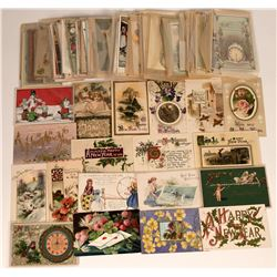 150 New Year's and Holiday Postcards, Many Printed in Germany  (118548)