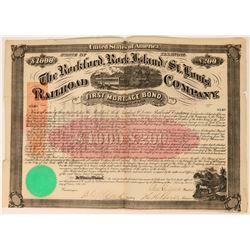 Rockford, Rock Island & St. Louis Railroad Co. Bond w/ Imprinted Revenues  (113626)