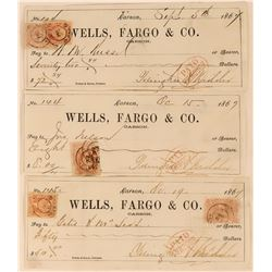 Carson City Checks with 3 Different Two-Cent Nevada Adhesive Revenue Stamps  (113557)
