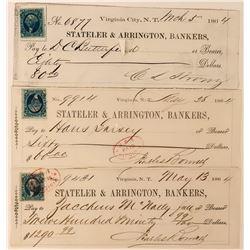 Virginia City Territorial Checks w/ Different Revenue Stamps (3)  (113604)