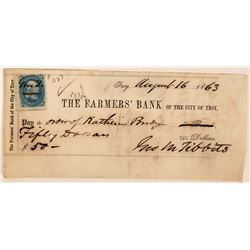 Farmers' Bank of Troy Check Using Postage Stamp as Revenue  (113566)