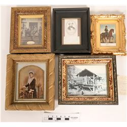 Gold Rush Period Photos, 5 Framed Historical Pieces  (120847)