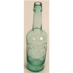 Van Bergen Gold Dust (Horse) Whiskey, Aqua, whittled  (121660)