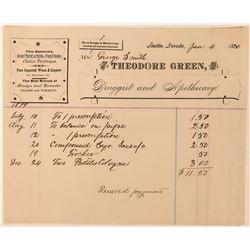 Theodore Green Druggist & Apothecary Billhead   (113382)