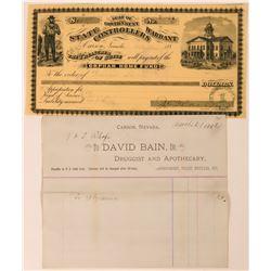 David Bain, Apothecary & Druggist, Billhead & Warrant  (113361)