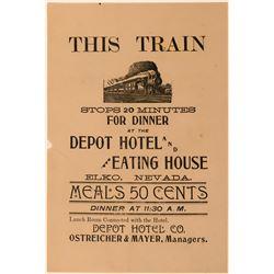 19th Century Handbill for Depot Hotel (Ostreicher & Mayer)  (113209)
