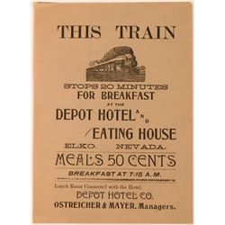19th Century Handbill for Depot Hotel (Ostreicher & Mayer)  (113584)