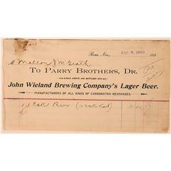 Parry Brothers / John Wieland Brewing Company Billhead  (113354)
