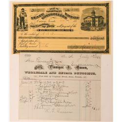 R.E. Queen Druggist Billhead & State Warrant  (113365)