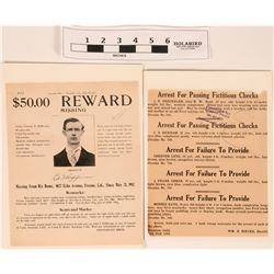 Wanted Poster Missing Man and Fictious Checks  (120653)