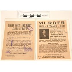 Wanted Posters - Murder and Stolen Horse & Buggy (2)  (118267)