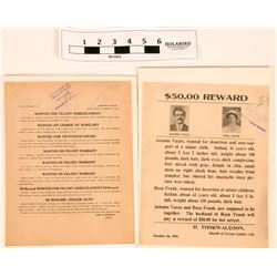 Wanted Posters for Desertion and String of Felonies (2)  (120654)