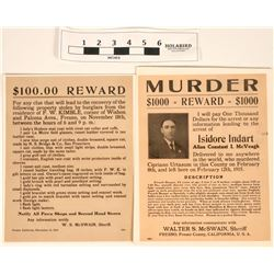 Wanted Posters for Murder and Stolen Items (2)  (120652)