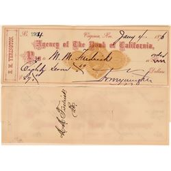 Yerington Check Issued to Virginia City Jeweler MM Fredrick  (113549)