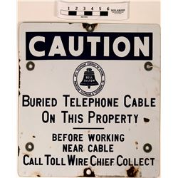 Telephone Cable Caution Sign, Antique Enamel/Metal BELL SYSTEM  (120695)