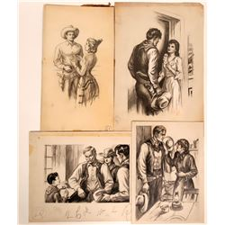 Cowboy interior Scenes with Women, Original Magazine Art, c1920-40  (109869)