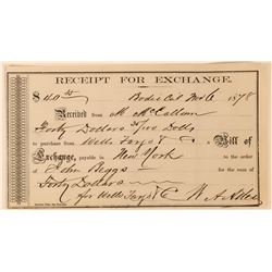Wells Fargo Bodie Receipt for Exchange  (113518)
