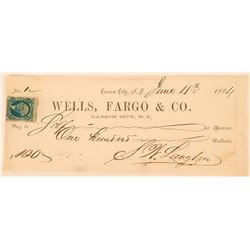 Carson City, Nevada Territory Check Signed by SW Langton (Langton's Express)  (113531)