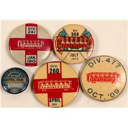 "Railway Pins / "" Pictorial "" / 5 Items.  (105362)"