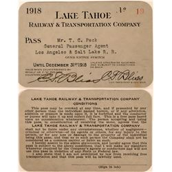 Lake Tahoe Railway & Transportation Co. Annual Pass  (113432)