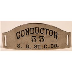 San Diego Street Car Company Conductor Cap Badge  (113423)