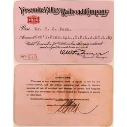Yosemite Valley Railroad Company Annual Pass  (113440)