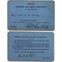 Sierra Railway Company of California Annual Pass  (113441)