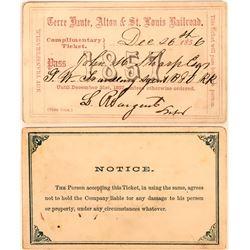 Terre Haute, Alton & St. Louis Railroad Pass, 1857  (113465)