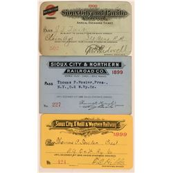 Three Different Sioux City Railroad Passes  (113448)