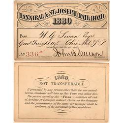Hannibal & St. Joseph Railroad Annual Pass  (113450)