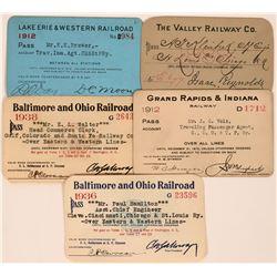 Five Ohio Railroad Annual Passes  (113467)