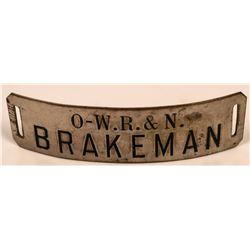 Oregon-Washington Railroad and Navigation Company Brakeman Cap Badge  (113403)