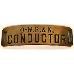 Oregon-Washington Railroad and Navigation Company Conductor Cap Badge  (113404)