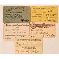 Various Houston Railroad Passes  (113436)