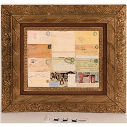 Pony Express Document Copies in Antique Frame  (122763)