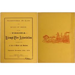 Virginia City Fire Dept. Constitution & By-Laws 1876  (120881)