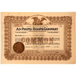 AD-Photo-Scope Stock Certificate- Motion Picture Machine Maker  (118438)