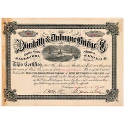 Dunleith & Dubuque Bridge Company Stock Certificate, Signed by Stuyvesant Fish  (111249)