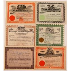 Six Arizona Mining Stocks 1904-1919  (110865)