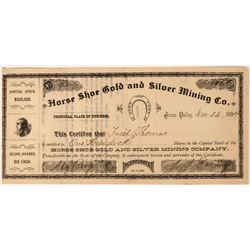 Horse Shoe Gold & Silver Mining Company Stock Certificate  (113597)