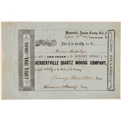 Herbertville Quartz Mining Company Stock Certificate  (107711)