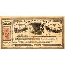 Redstone Quartz Mining Company Stock Certificate  (113535)