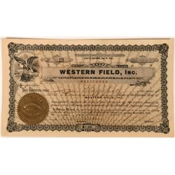 Western Field Inc. Stock Issued to and Endorsed by Geo. Wingfield  (118440)